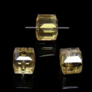 Beads, Auralescent Crystal, Crystal, Burnt orange AB, Faceted square shape, 8mm x 8mm x 8mm, 1 Bead, [ZZD0042]
